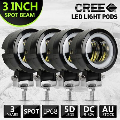 4pcs 3''inch Cree LED Spot Work Driving Light Blue & White For Motorcycle Truck