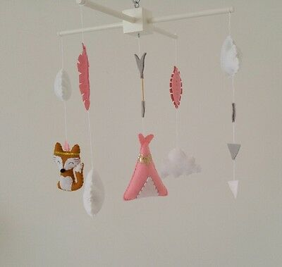 Tribal theme baby mobile- fox, teepee, arrow and feather