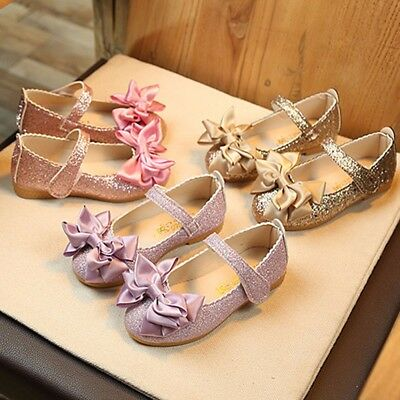 Child Kids Baby Girl Bow Party Wear Princess Shoes Shiny Leather Moccasins AU
