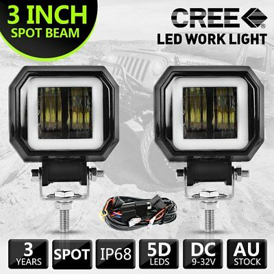 2X 3inch Cree LED Spot Work Light Square Driving Pods Offroad Motorcycle + Wire
