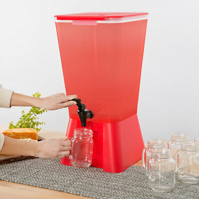 5 Gallon Red Square Plastic Beverage Dispenser Party Catering Wedding Event