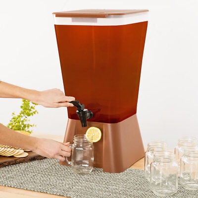 5 Gallon Brown Square Plastic Beverage Dispenser Party Catering Wedding Event