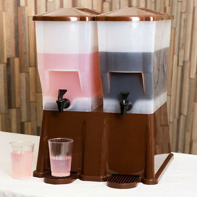 6 Gallon Brown Double Beverage / Juice Dispenser Party Catering Wedding Event