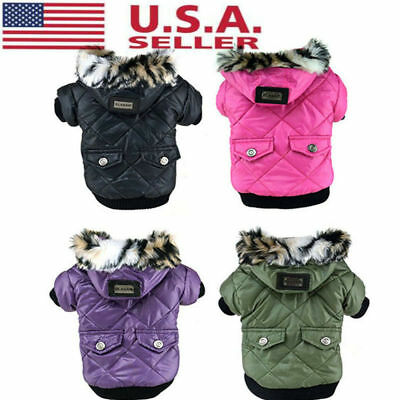 US Winter Small Dog Pet Cat Warm Cotton Hoodie Coat Puppy Jacket Clothes Outwear