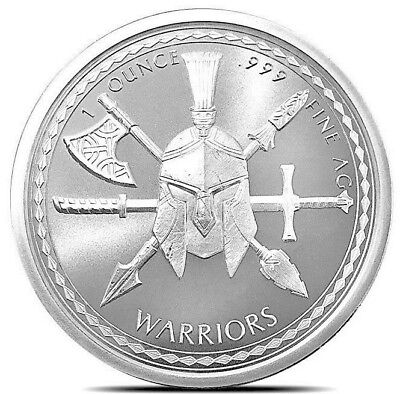2019 Spartan Warrior Series ~ 1 oz .999 Pure Fine Solid Silver BU Art-Round Coin