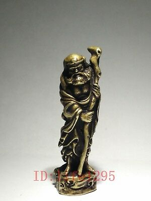 Collection Old China Tibet Bronze Carving Bodhidharma Statue Amulet Pendant Gift