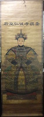 Asian Chinese Antique Figures Painting QING Dynasty Queen KangXi