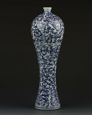 Chinese White & Blue Porcelain Hand Painted Flower Vase W Qianlong Mark