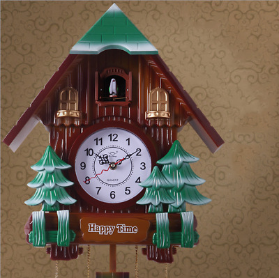 LE Retro Cuckoo Clock Living Room Creative Wall Clock Imitation Wood Wall Clock