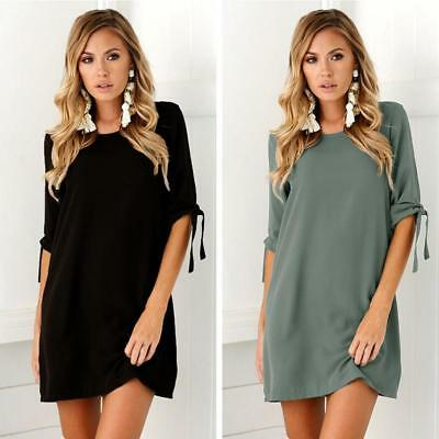 Women's Crew Neck Bandage Sleeve Casual Loose Solid Color Mini Shirt Dress ONE