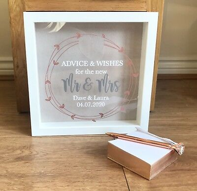 Personalised Wedding Guest Book Alternative Rose Gold Theme Deluxe Drop Box