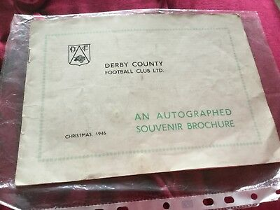 Derby County rare autographed souvenir brochure FA CUP WINNING YEAR 1946