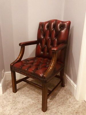 Antique / Vintage Oxblood Red Leather Chesterfield Gainsborough Desk Chair