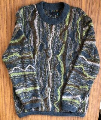 Vintage Coogi Small 90's authentic Australia Wool Abstract Sweater BIGGIE HIPHOP
