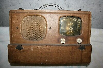 "Zenith Wave Magnet Radio Vintage Portable suitcase 1941 6A-19 ""Powers Up"" $25.00"