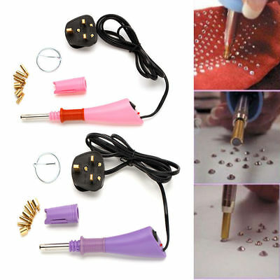 Heated Gem Rhinestone Applicator Wand Hotfix Crafts Design Beads Crystal UK Plug