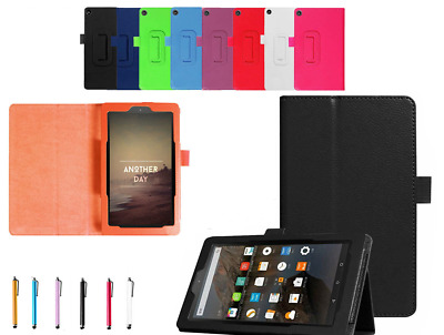 New Leather Smart Flip Stand Case Cover For Amazon Kindle Fire Hd 8 (2017) Alexa