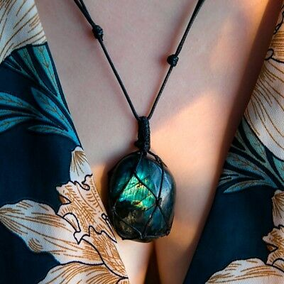 Chain Wrap Women Necklace Labradorite Pendant Natural Stone Crystal Moonstone