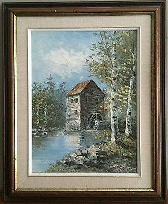 William Conway SIGNED Original Oil Painting Old Mill Country Scene Canada Framed