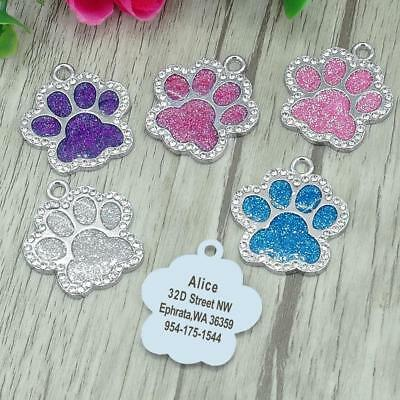 FREE Personalised Engraved Glitter Paw Print Tag Dog Cat Pet ID Tags Reflective