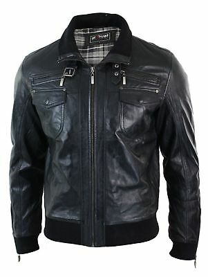 Mens Tailored Fit Bomber Real Leather Genuine Pilot Flying Jacket Casual Black