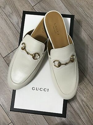 f7ec1b60dba7 NEW Gucci Princetown White Leather Loafer Slide Mules Women Shoes Size 37