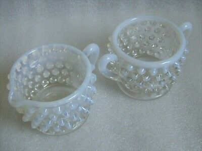 Pottery & Glass Art Glass Just Vintage Fenton Moonstone Opalescent Hobnail Glass Bowls