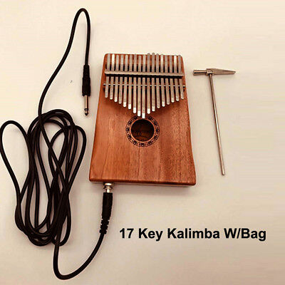 Musical 17 Keys EQ Kalimba Solid Acacia Thumb Piano Electric Pickup w/ Bag Cable