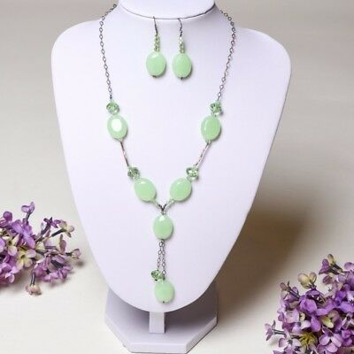 NWOT Pretty Elegant Light Green Fashion Crystal Glass Bead Necklace/Earrings Set