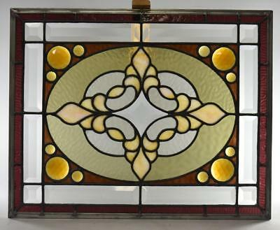 Antique Stained Slag Glass Jewels Beveled Window