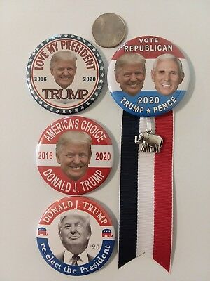 """4-pack, 2020 DONALD TRUMP for PRESIDENT 2.25"""" CAMPAIGN BUTTON, PIN BACK, MAGNETS"""