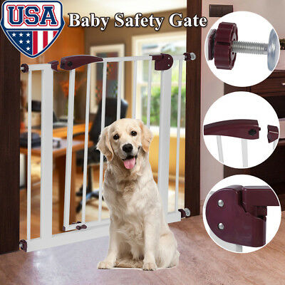 Baby Safety Gate Door Toddler Child Pet Metal Easy Locking System W/ Extension