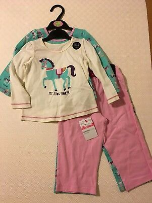 bnwt MARKS & SPENCER 2 PAIRS PYJAMAS AGE 12-18 MTHS COTTON PONIES PRINT PINK MIX