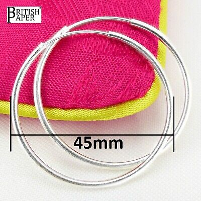 Pair 45mm Solid 925 Sterling Silver Hoop Sleeper Earrings Nose Clip Stud On Ring
