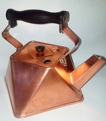 French Vintage cubism copper kettle Art Deco period 1920s. Unusual/collectible