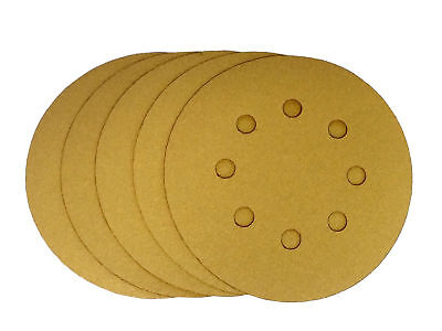 5 Inch X 8 Hole Gold Hook and Loop Grip Sanding Discs (25 Pack, 320 Grit)