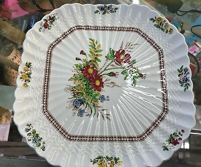 "8-7/8"" Copeland Spode Rosalie Wicker Square Cookie Pastry Plate Dessert Server"