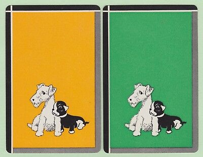 2 Single VINTAGE Swap/Playing Cards DOGS TERRIER + PUG 'PALS DA-8-12' Yellow/Grn