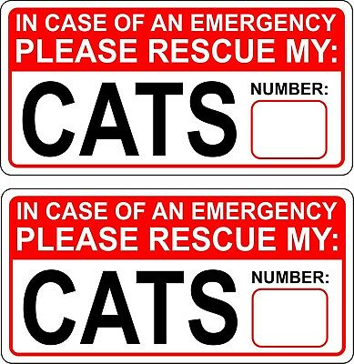 Cat or Dog Pet Emergency Rescue Sticker Decal Set - Fire safety First Responder