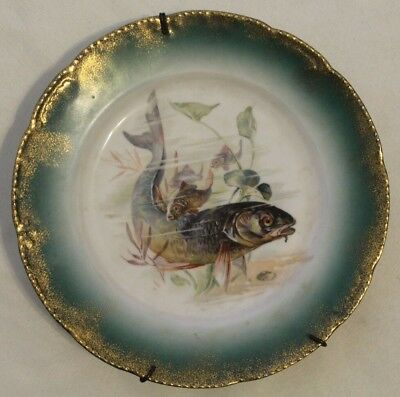 Extremely Rare Late 1800s Early 1900s Porcelain Hand Painted Fish Plate