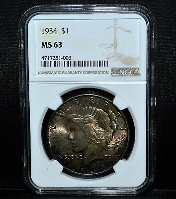 1934-P $1 Peace Silver Dollar ✪ Ngc Ms-63 ✪ S$1 Choice Uncirculated ◢Trusted◣