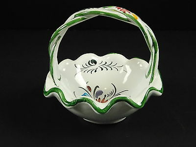 Portugal Hand Painted Pottery Ceramic Basket With Flowers Easter Spring 5x5 Inch