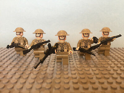 x5 brodie helmet compatible military Lego ww2 British infantry squad soldiers