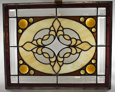 Antique Stained Slag Glass Jeweled Beveled Window