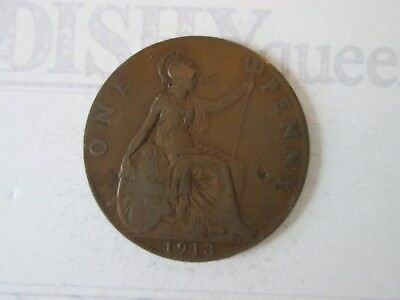 1913 ONE 1 Lg PENNY! Vintage GREAT BRITAIN coin: copper composition     IS319