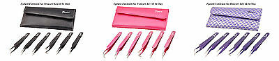 Bach Eyelash Extension Tweezers Kit (All In One) Pink Purple 7 Piece Set Beauty
