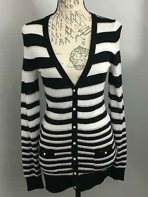 NWT $98 WHITE HOUSE BLACK MARKET Cardigan Black Silver Striped Top Small S New