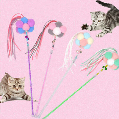 Pet Kitten Cat Teaser Colorful Fairy Wand Stick Interactive Fun Toy with Tassels