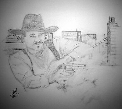 Tombstone Val Kilmer  Doc Holliday  Pencil Drawing Gunfight At The Ok Corral