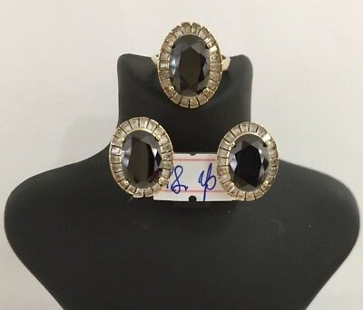 925 Sterling Silver Jewelry Black Onyx Ladies Earring and Ring Set